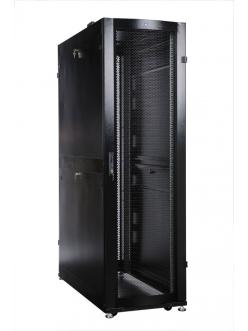 Шкаф серверный ПРОФ напольный 48U (600x1000) дверь перфор., задние двойные перфор., черный, в сборе